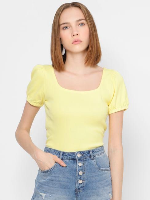 Yellow Square Neck Top