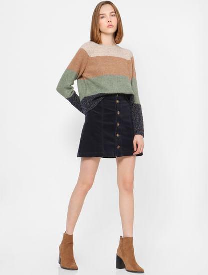 Beige Colourblocked Pullovers