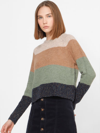 Beige Colourblocked Pullovers