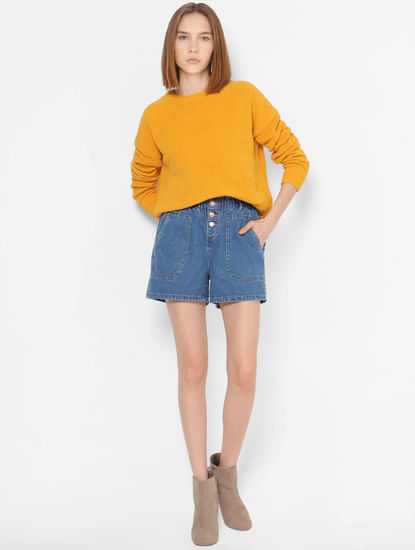 Yellow Self-Design Pullover