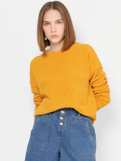 Yellow Self-Design Pullover