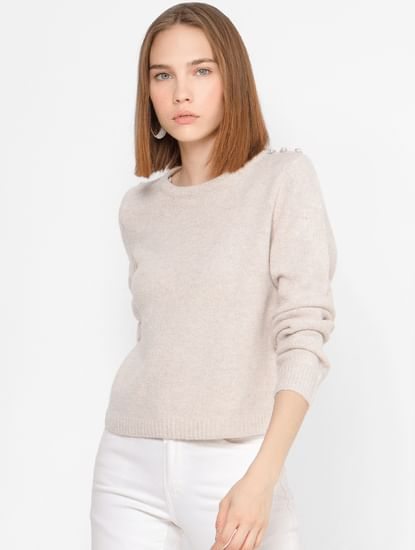 Beige Button Detail Pullover