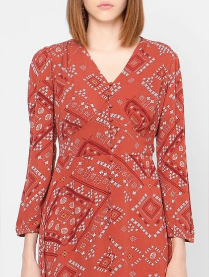 Red All Over Print Midi Dress