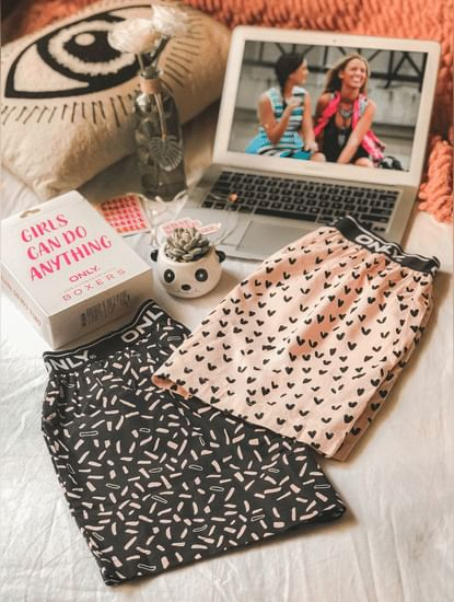 Pack of 2 Printed Pajama Boxers - Pink & Black