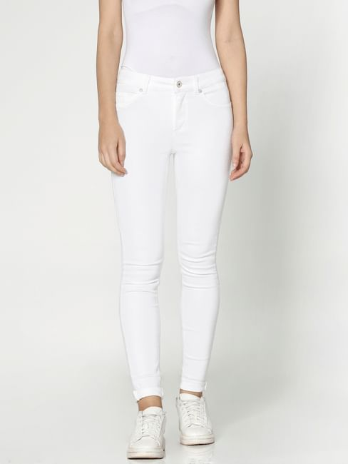 White Mid Rise Slim Fit Jeans