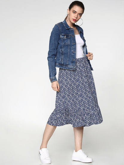 Blue Mid Rise All Over Print Skirt