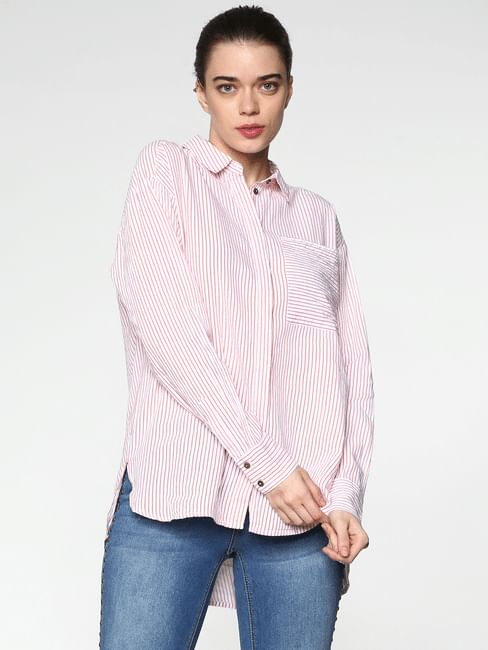 Pink Striped Oversized Shirt