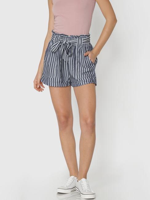 White Striped Paper Bag Waist Shorts