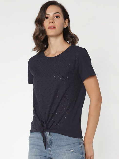 Navy Blue Front Knot T-Shirt