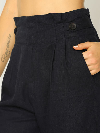 Navy Blue High Rise Slim Fit Pants