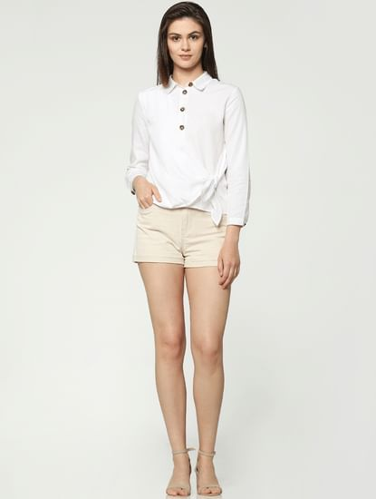 Cream Low Rise Shorts