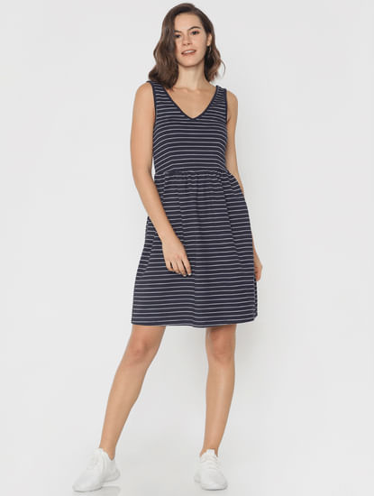 Navy Blue Striped Fit & Flare Dress