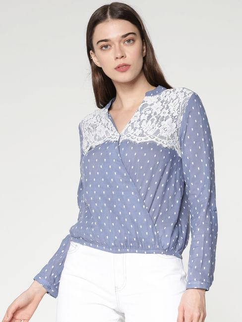 Blue Dobby Printed Lace Top