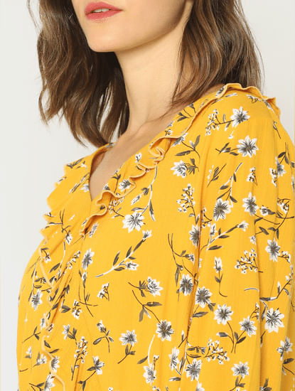 Yellow Floral Print Cropped Top