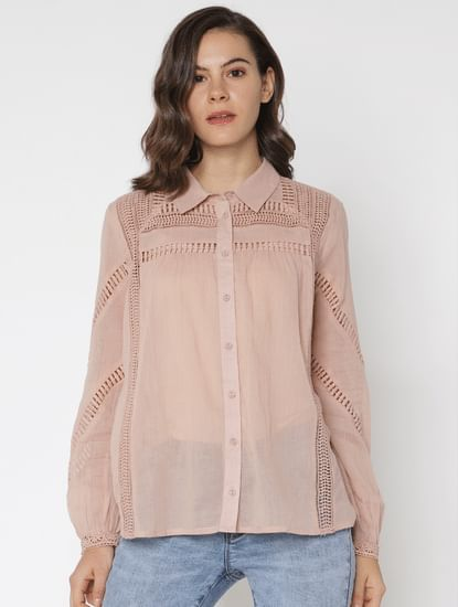 Beige Cut Work Shirt