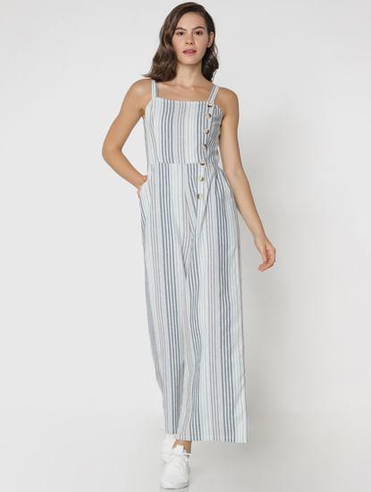 White Striped Jumpsuit