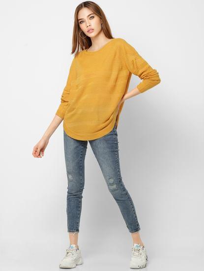 Mustard Self-Design Pullover