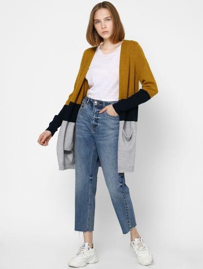 Mustard Colourblocked Long Cardigan