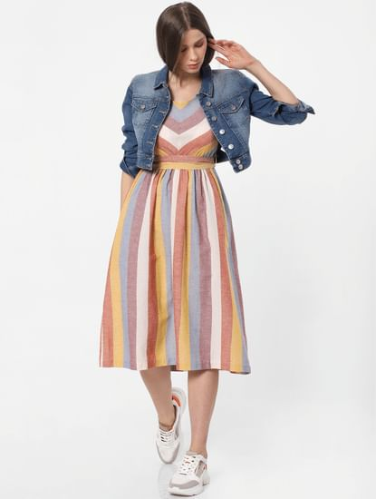 Multi-Coloured Striped Midi Dress