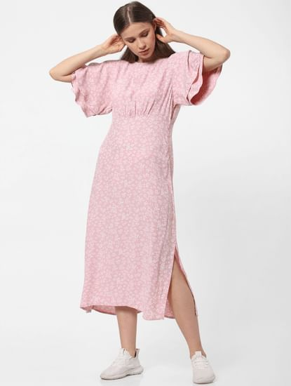 Pink Floral Tiered Sleeves Midi Dress