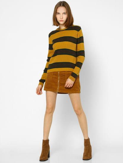 Brown High Rise Corduroy ZipUp Skirt