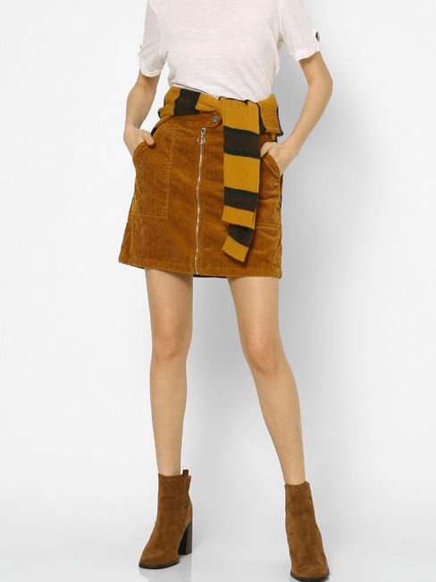 Brown High Rise Corduroy ZipUp Skirt