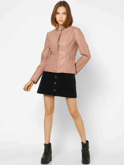 Pink Front Zipped PPU Jacket