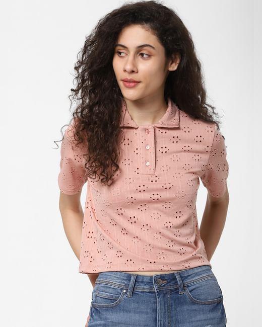 Pink Cut-Work Polo T-shirt