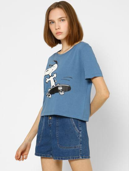 x PEANUTS Blue Snoopy Print T-shirt