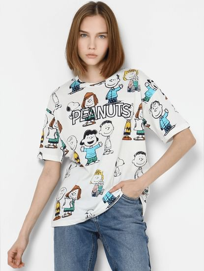 X PEANUTS White All Over Print T-shirt