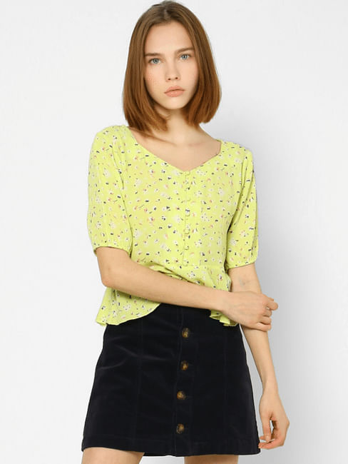 Green Floral Flared Top