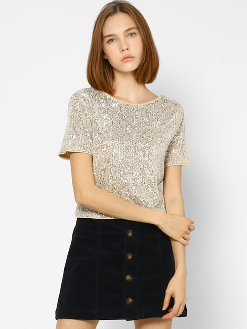 Silver Sequined V Neck Top