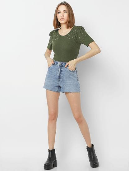 Green Embellished Puff Sleeves Top