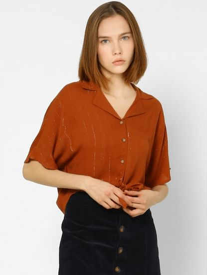 Brown Shimmer Front Knot Shirts