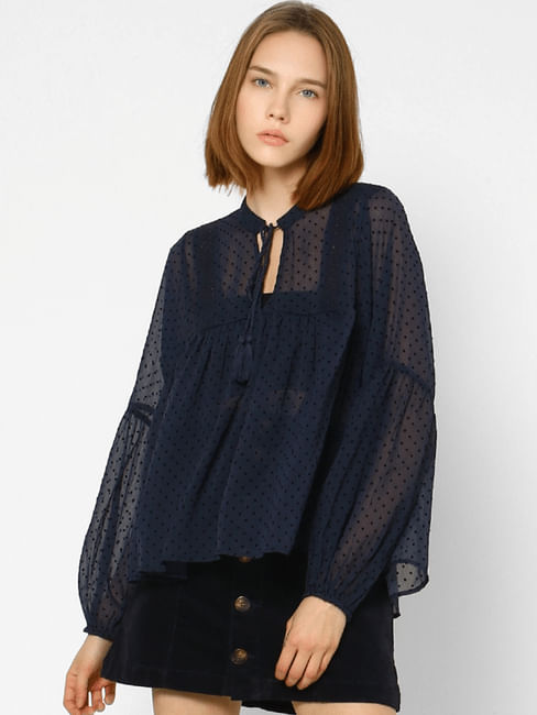 Navy Blue Sheer All Over Print Top