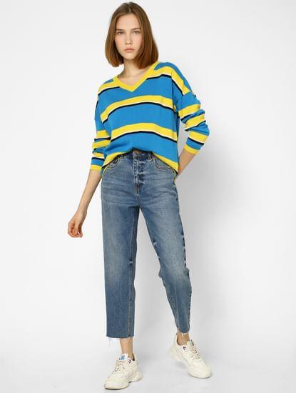 Blue Colourblocked V Neck Pullover