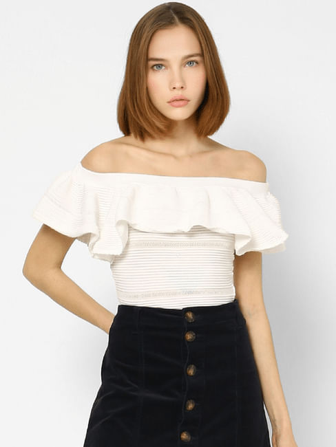 White Frilled Cropped Off-Shoulder Top