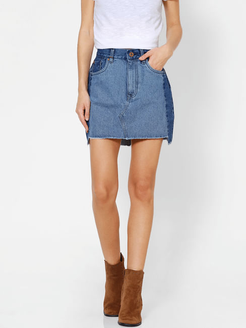 Blue Mid Rise Washed Denim Skirt
