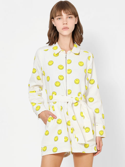 White All Over Smiley Print Playsuit