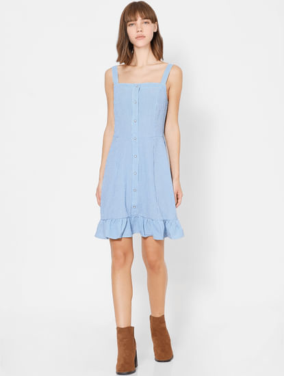 Blue Button Down Striped Shift Dress