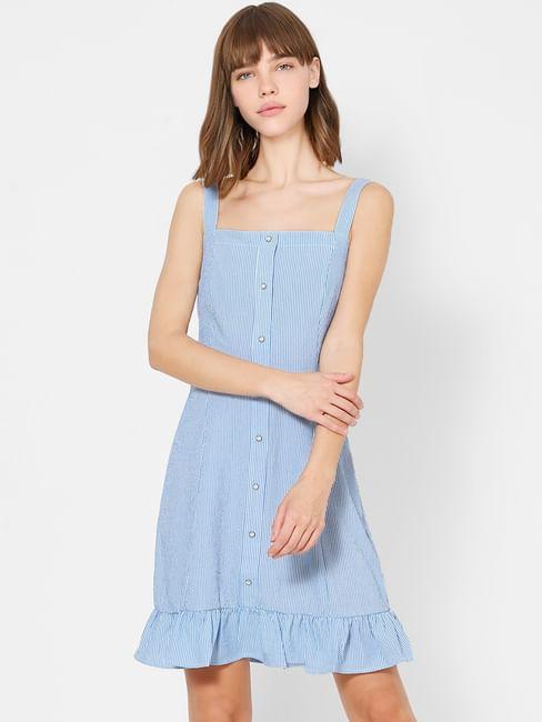 Blue Button Down Striped Shift Dress