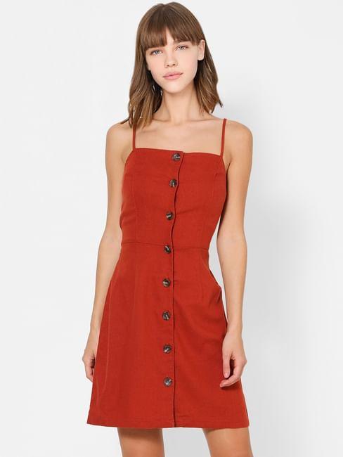Brown Button Down Bodycon Dress