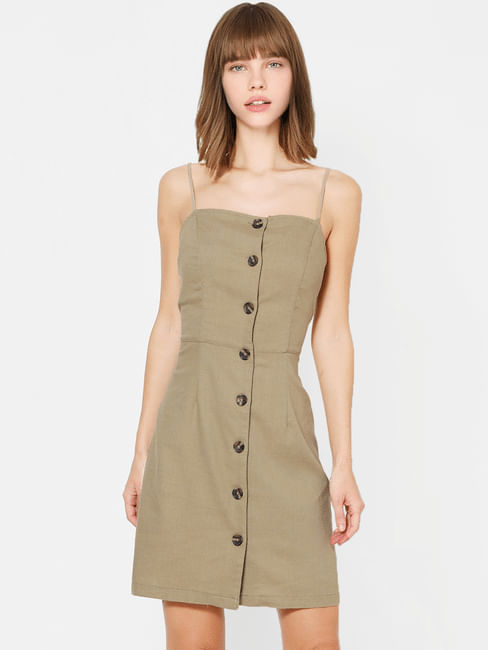 Olive Button Down Bodycon Dress