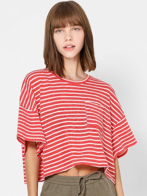 Red Striped Crop T-shirt