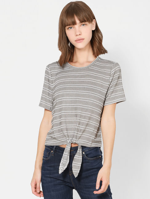 White Striped Front Knot Top