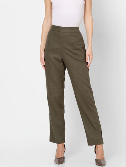 Green Mid Rise Tape Detail Linen Pants