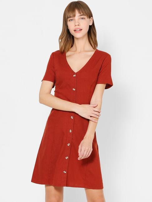 Dark Brown Button Down Fit & Flare Dress