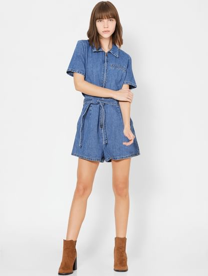 Blue Denim Front Knot Playsuit
