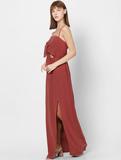 Red Front Knot Cut Out Detail Maxi Dress