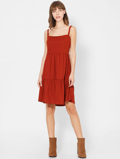 Brown Sleeveless Shift Dress